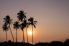 Schöne glühende Sonnenunterganglandschaft in dem Indischen Ozean Stockfoto