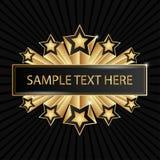 Schöne goldene Fahne mit glänzenden Sternen Lizenzfreies Stockfoto