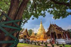 Schöne goldene Pagode und Kapelle im thailändischen Tempel lizenzfreie stockfotos
