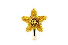 Schöne goldene sternförmige Weihnachtsverzierung lokalisiert auf Whit Lizenzfreie Stockbilder
