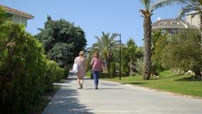 Schöne grüne Gasse mit Palmen am Frühling, zwei Leute überschreiten vorbei stock video