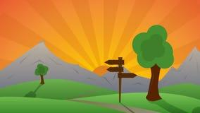 Schöne grüne Landschaft und Sonnenuntergang hinter Hügeln Stockfotografie