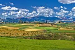 Schöne grüne Landschaft unter blauem Himmel Stockbilder