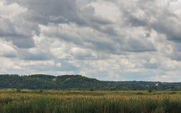 Schöne grüne Rasenfläche unter einem bewölkten Himmel, Landschaft-backgr Lizenzfreie Stockfotografie