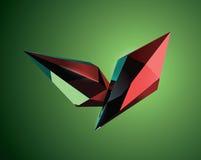 Schöne grafische Kristalle auf grünem Hintergrund Stockbild