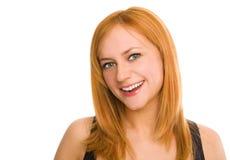 Schöne green-eyed lächelnde Frau Lizenzfreie Stockbilder