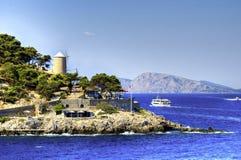 Schöne griechische Insel, Hydra stockfoto