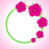 Schöne Grußkarte mit Blumenkranz Stockfotos