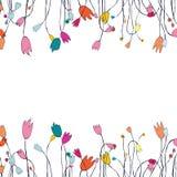 Schöne Grußkarte mit Blumenkranz Abbildung Stockbilder