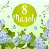 Schöne Grußkarte mit dem Feiertag vom 8. März, internationalem Frauen ` s Tag mit Frühlingsblumen und Beschriftung Stockfoto