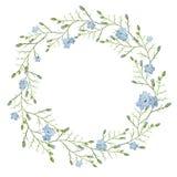 Schöne Grußkarte mit einem Kranz von blauen Blumen des Frühlinges auf weißem Hintergrund Stockfoto