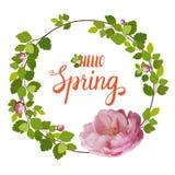 Schöne Grußkarte mit einem Kranz von Frühlingsrosarosen und -beschriftung auf weißem Hintergrund Stockfoto