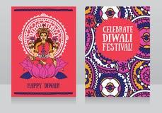 Schöne Grußkarten für diwali Festival lizenzfreie abbildung