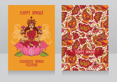 Schöne Grußkarten für diwali Festival mit indischer Göttin Lakshmi lizenzfreie abbildung