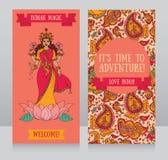 Schöne Grußkarten für diwali Festival mit indischer Göttin Lakshmi stock abbildung