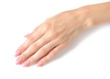 Schöne Hände mit vollkommener Nagelrosamaniküre stockbilder