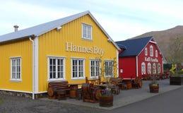 Schöne Häuser in Siglufjordur, Island stockfotos