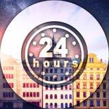 Schöne Häuser Tschechische Republik Sternenklarer Himmel und Milchstraße über t lizenzfreie abbildung