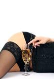 Schöne Hüften und Champagnerglas stockbild
