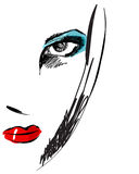 Schöne Hand gezeichnetes Portrait der eleganten Frau der Art Lizenzfreies Stockfoto