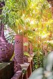 Schöne handgemachte Töpferwarenlampe auf der Garten- und Baumdekoration mit Licht stockbild