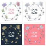 Schöne Handgezogene Grußkarte mit Abwehr der Datumstext und die Gekritzelblume Stellen Sie Grußkarte ein Weinleseliebessammlung vektor abbildung