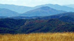 Schöne Herbstfarben und eine Ansicht über die Berge Stockbild
