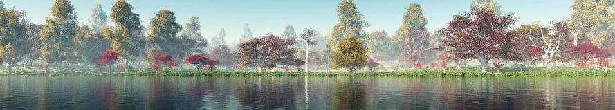 Schöne Herbstlandschaft Herbstbäume über dem Wasser lizenzfreie stockbilder