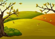 Schöne Herbstlandschaft und fallende Blätter stock abbildung