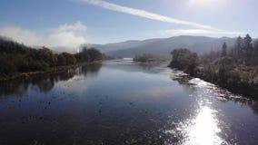 Schöne Herbstnatur in Karpaten, Ukraine Gebirgsfluss Stryi, sonniges Wetter und blauer Himmel stock video footage