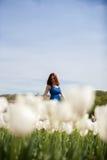 Schöne herrliche Frau auf dem Gebiet der weißen Blume Stockfotos