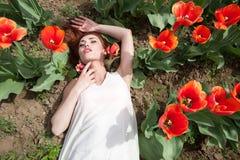 Schöne herrliche Frau auf dem roten Blumengebiet Stockfotos