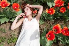 Schöne herrliche Frau auf dem roten Blumengebiet Lizenzfreie Stockfotos