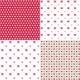 Schöne Herzen umreißen abstrakte 4 nahtlose Musterhintergründe für Tapete Muster, Netz, Blog, Oberfläche, Beschaffenheiten, Grafi Lizenzfreie Stockfotografie