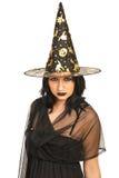 Schöne Hexe mit Hut stockbilder