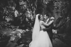 Schöne Hochzeitspaare bleiben auf Stein des Flusses in den szenischen Bergen lizenzfreies stockfoto