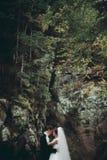 Schöne Hochzeitspaare bleiben auf Stein des Flusses in den szenischen Bergen stockbild