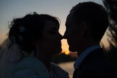 Schöne Hochzeitspaare an den Sonnenuntergangschattenbildern Stockfotos
