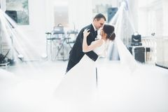 Schöne Hochzeitspaare heirateten gerade und ihren ersten Tanz tanzend stockbild