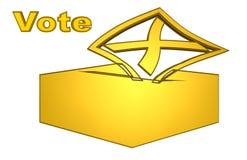 Schöne Illustration eines goldenen Abstimmungskastens stock abbildung