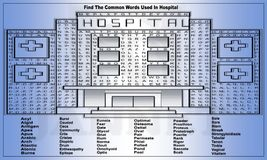 Schöne Illustration eines Krankenhauses mit den Wörtern zu finden stock abbildung