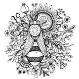 Schöne Illustration mit Biene, Blumen und Beeren Lizenzfreie Stockfotografie