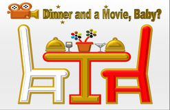 Schöne Illustration von ` Abendessen und von Film, Baby? ` lizenzfreie abbildung