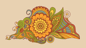 Schöne indische ethnische Blumenverzierung mandala Hennastrauchtätowierungsart Lizenzfreie Stockfotografie