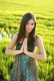 Schöne indische Frau auf den grünen Reisgebieten Stockfoto