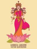 Schöne indische Göttin Lakshmi im Lotos vektor abbildung
