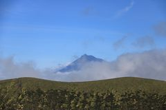 Schöne Isla Faial bei den Azoren Portugal und bei Pico lizenzfreie stockbilder