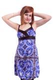 Schöne Jugendliche mit einem blauen Kleid Lizenzfreies Stockfoto