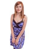 Schöne Jugendliche mit einem blauen Kleid Lizenzfreie Stockbilder