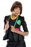 Schöne junge Afrikanerin gekleidet im afrikanischen Designer Clothes lizenzfreie stockfotografie